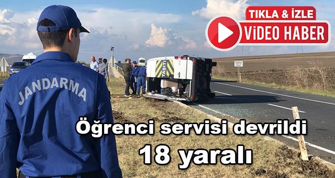 Öğrenci servisi devrildi 18 öğrenci yaralandı