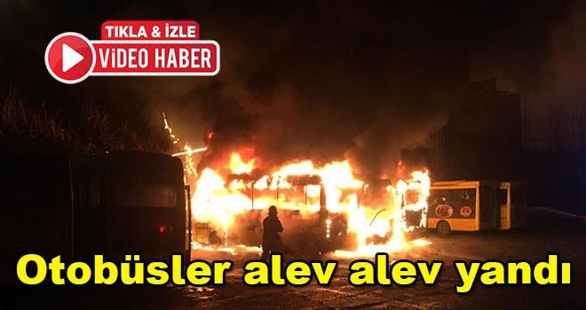 Halk otobüsleri alev alev yandı