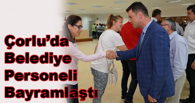 Çorlu'da belediye personeli bayramlaştı