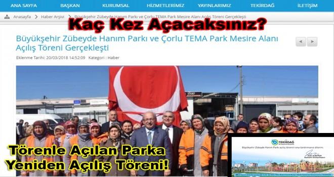 Tekirdağ Büyükşehir Aynı Parkı Törenle 2. Kez Açacak